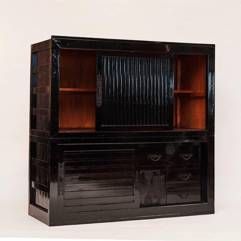 Lacquered Tansu Cabinet, Meiji Era, Japan For Sale
