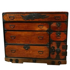 Japanese Cedar Tansu Chest, Edo Period, Mid-18th Century