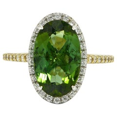 Tantalizing Green Tourmaline Diamond Engagement Ring Gemstone 3.82 Carat Halo