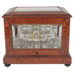 Tantalus Box with Beveled Glass Panels with Decanters and Stemware