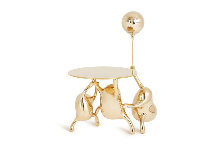 Chinese Tantan Side Table End Table Polished Brass Gold Nightstand Customizable For Sale