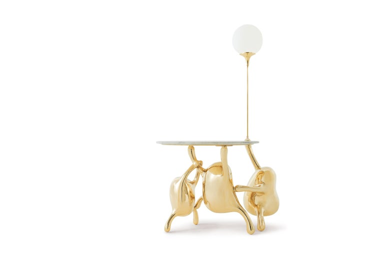 Tantan Side Table End Table Polished Brass Gold Nightstand Customizable In New Condition For Sale In Los Angeles, CA