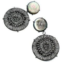 "Tanya Crane OAK Abalone and Enamel Earrings entitled ""Signature Crane 2"""