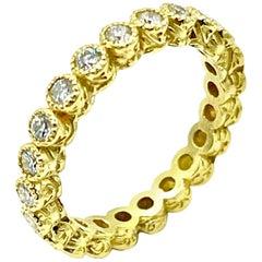 Tanya Farah 0.65 Carat Bezel Set 18 Karat Yellow Gold Diamond Eternity Ring