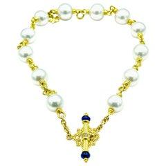 Tanya Farah Cultured Pearl 18 Karat Yellow Gold Necklace