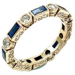 Tanya Farah Round Brilliant Diamond and Emerald Cut Sapphire Rose Gold Band