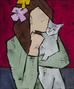 Girl with a Cat, Painting, Oil on Canvas