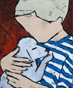 The Boy with Puppy, Painting, Oil on Glass