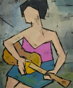 Woman with a Guitar, Painting, Oil on Canvas