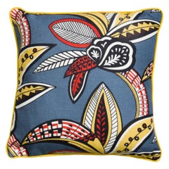 Tanzania Blue and Yellow Multicolored Floral Linen Cushion