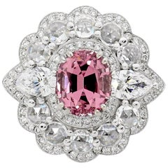 Tanzanian Garnet 1.334 Carat Diamonds Halo Dress Ring