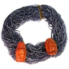 Tanzaniane Torchon Necklace 18 Karat Gold Ebony Antiques Netsuke