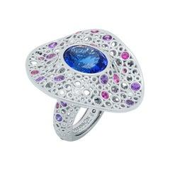 Tanzanite 12.42 Carat Diamonds Sapphires 18 Karat White Gold Bubbles Ring