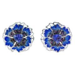Tanzanite 1.40 Carat Sapphires 18 Karat White Gold Cornflower Earrings