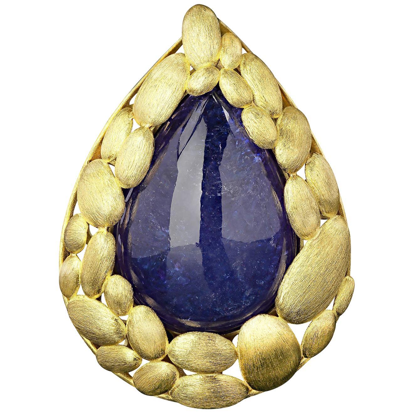 Tanzanite 14k Yellow Gold Pendant Big Unisex Men's Necklace Jewelry Christmas