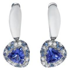 Tanzanite 1.72 Carat Diamonds Blue Sapphire White 18 Karat Gold Riviera Earrings