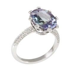 Tanzanite 18 Carat White Gold Diamond Ring
