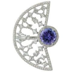 Tanzanite 18 Karat White Gold Diamond Ring