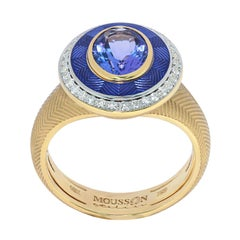 Tanzanite 1.85 Carat Diamonds Enamel 18 Karat Yellow Gold Tweed Ring