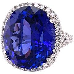 Tanzanite 19.71 Carat and Diamond Gold Ring