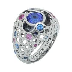 Tanzanite 2.29 Carat Pink Blue Sapphires 18 Karat White Gold Bubble Ring