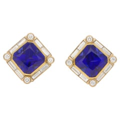 Art Deco Style Tanzanite and Diamond Clip On Earrings in 18k Gold