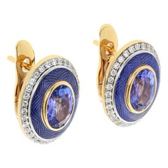 Tanzanite 2.43 Carat Diamonds Enamel 18 Karat Yellow Gold Tweed Earrings