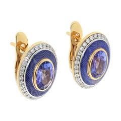 Tanzanite 2.43 Carat Diamonds Enamel 18 Karat Yellow Gold Tweed Earrings