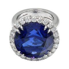 Tanzanite 25.40 Ct Diamonds 2.39 Ct White Gold Made in Italy Rings