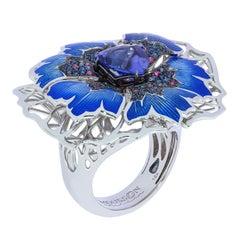 Tanzanite 2.60 Carat Sapphires 18 Karat White Gold Cornflower Ring