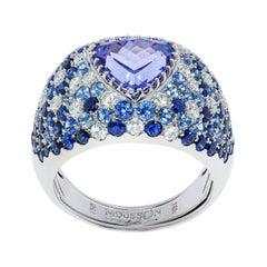 Tanzanite 2.80 Carat Diamonds Blue Sapphires White 18 Karat Gold Riviera Ring