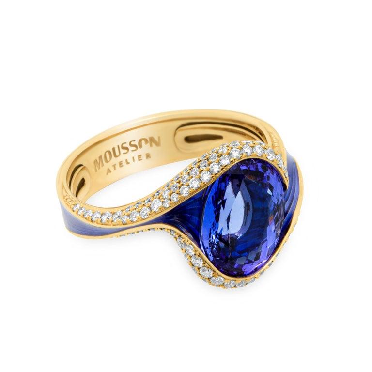 Tanzanite 3.49 Carat Diamonds Enamel 18 Karat Yellow Gold Ring Our new collection