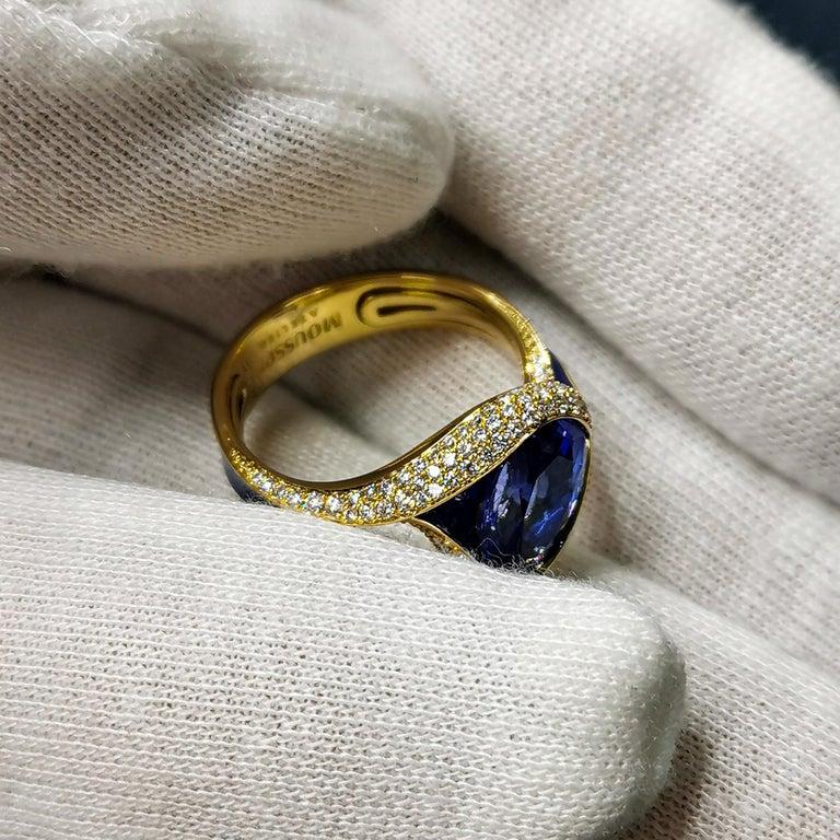 Tanzanite 3.49 Carat Diamonds Enamel 18 Karat Yellow Gold Ring For Sale 3