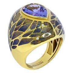 Tanzanite 3.76 Carat Diamonds 18 Karat Yellow Gold Four Seasons Ring