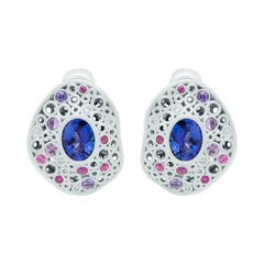 Tanzanite 5.99 Carat Diamonds Sapphires 18 Karat White Gold Bubble Earrings