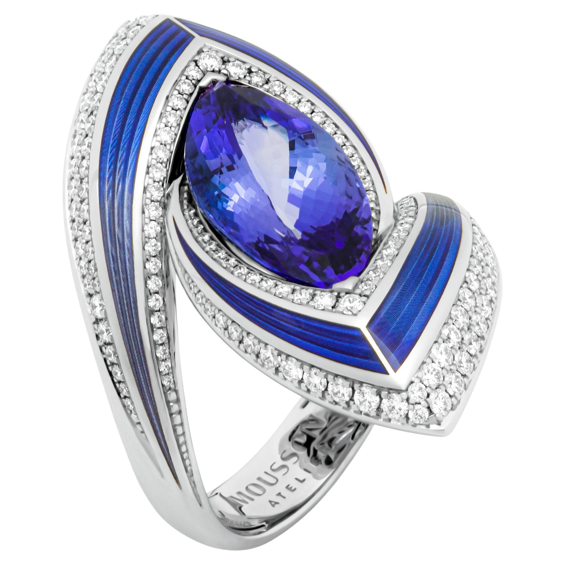 Tanzanite 6.20 Carat Diamonds Enamel 18 Karat White Gold Ring