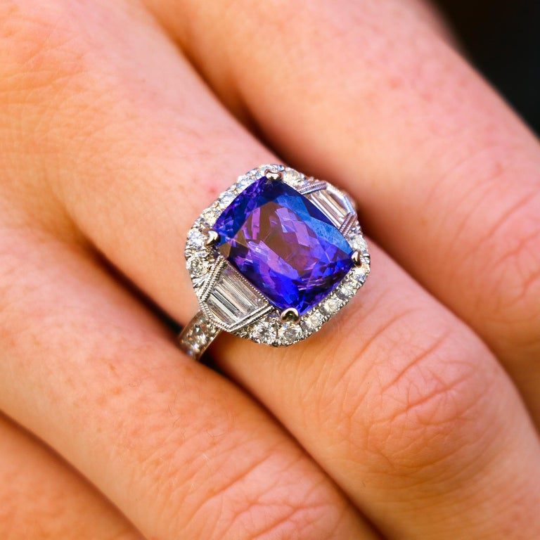 Asscher Cut Tanzanite 6.88 Carat and Diamonds 1.20 Carat Ring For Sale