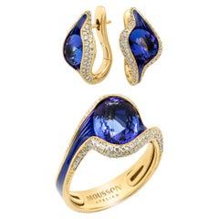 Tanzanite 7.38 Carat Diamonds Enamel 18 Karat Yellow Gold Suite