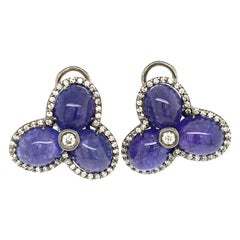 Tanzanite and 0.78 Diamond Clip Earrings On White Gold Italy with box