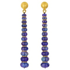 Tanzanite and 22 Karat Yellow Gold Bead Drop Earrings