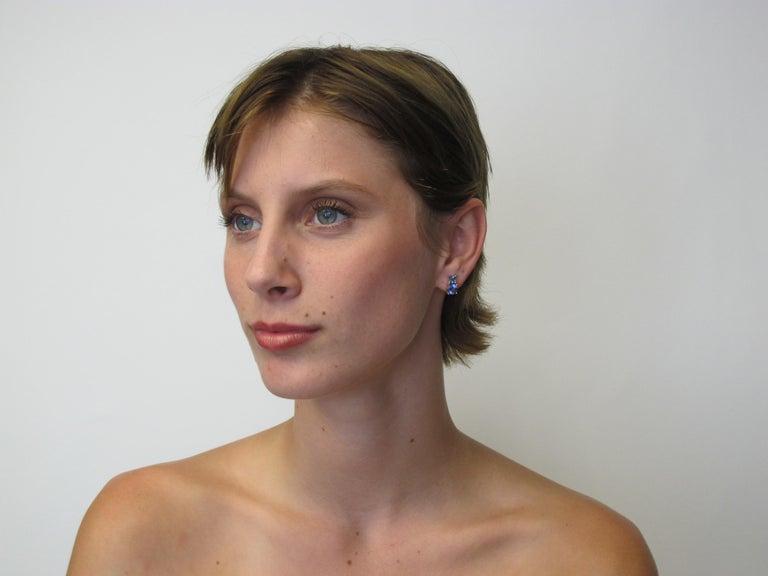 Artisan Tanzanite and Aquamarine 18 Karat Yellow White Gold Earrings For Sale