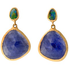 Tanzanite and Boulder Opal Earrings 18 Karat Gold