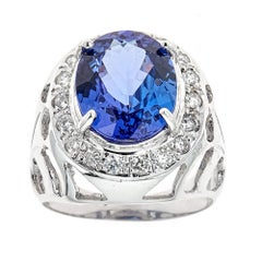 6.5 TCW Tanzanite Round Cut Diamond Statement Cocktail Ring in 14k White Gold