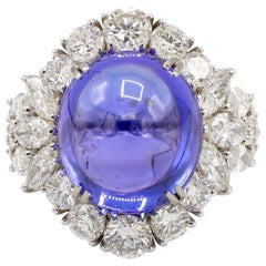 Tanzanite and Diamond 18 Karat White Gold Dome Cocktail Ring