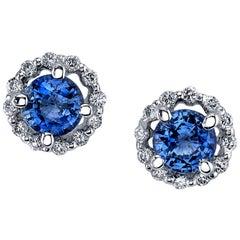 Tanzanite and Diamond 18k White Gold Stud Earrings