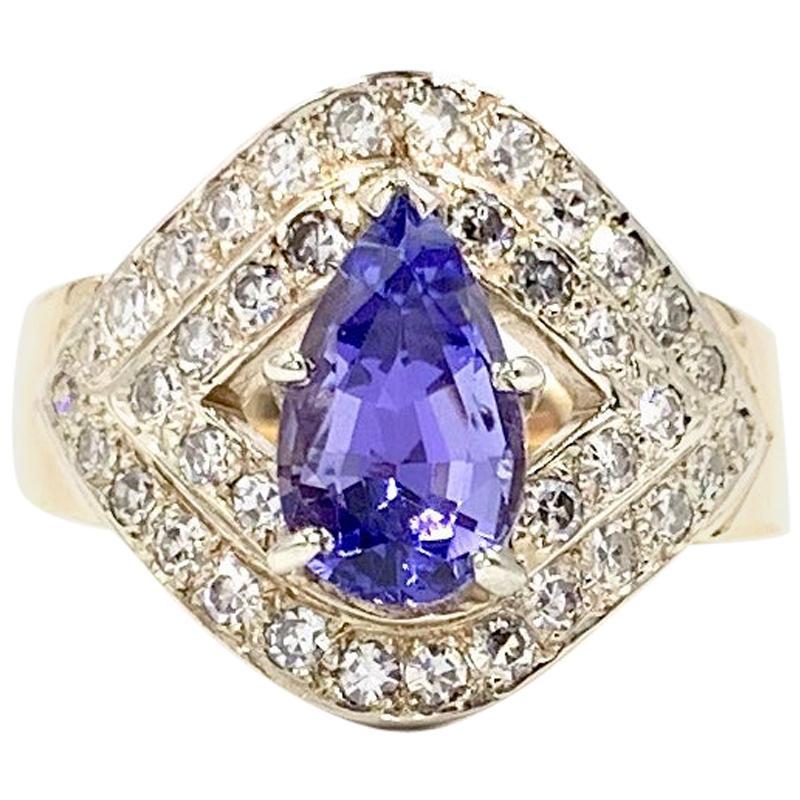 Tanzanite and Diamond Art Deco Style Gold Ring