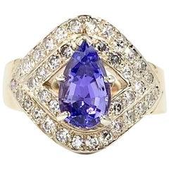 Tanzanite and Diamond Art Deco Gold Ring