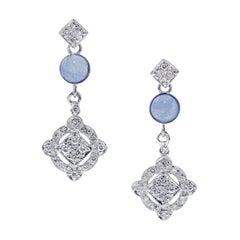 Tanzanite and Diamond Earrings in 14 Karat White Gold