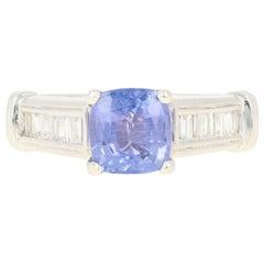 Tanzanite and Diamond Engagement Ring, 900 Platinum Milgrain 1.68 Carat