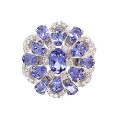 Tanzanite and Diamond Gold Cluster Ring Estate Fine Jewelry